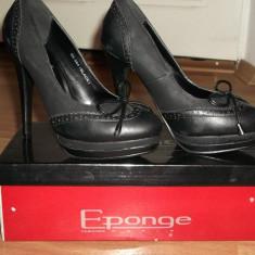 Pantofi piele eponge toc 12 cm cu platforma - Pantofi dama eponge, Marime: 36, Negru