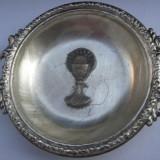 Farfurioara mica decorativa veche din metal argintat - Metal/Fonta