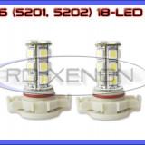 BEC AUTO LED LEDURI H16 5201, 5202 18 SMD - LOGAN PH2 DRL FAZA LUNGA PROIECTOARE