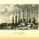 Ruine in Djerash (Jerash actualmente in Siria, fostul Gerasa) - Tipogravura - Meyers Universum 1833-1861 - Pictor strain