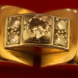 Inel aur deosebit cu diamante, Nespecificat, Galben