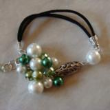 Bratara Fashion - Bratara cu perle de sticla si cristale fatenate