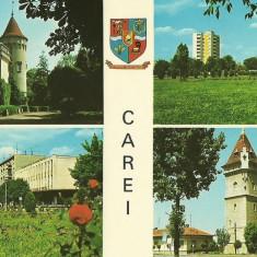 Carti Postale Romania dupa 1918, Circulata, Fotografie - NGL: Romania CAREI Colaj Imagini Din Oras Carte Postala Color Circulata Carti Postale Vechi CP