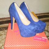 Pantofi albastrii - super platforma !!!