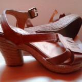 Sandale din piele marimea 35 - Sandale dama, Culoare: Maro, Maro