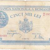 Bancnota 5000 lei 22 august 1944, FOARTE RARA, cu defecte