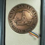 Medalii Romania - 1 DECEMBRIE 1918 - 75 DE ANI DE LA MAREA UNIRE - ALBA IULIA 1918 - 1993 - CUTIE ORIGINALA DIN PIELE NATURALA
