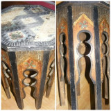 Masuta octogonala din lemn sculptata si pictata manual cu o vechime de aproximativ 100 ani., piesa rara de colectie, MASA ANTICA - Mobilier