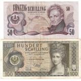 Bancnota Straine, Europa - AUSTRIA 50 SCHILLING 1970 F, 100 SCHILLING 1969 F - pret per lot