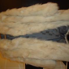 Haina blana naturala vulpe argintie - scurta, marimea 40, Argintiu