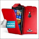 Husa pentru Nokia Lumia 925 Folie display CADOU rosie, Rosu, Piele Ecologica, Cu clapeta
