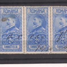 No(9)timbre-Romania - Timbru fiscal- Ferdinand-2 LEI-streif de 5 val