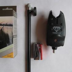 Avertizor pescuit - AVERTIZOR DIGITAL DIAMANT TLI-07 NEGRU CU MUFA JACK / BATERIE INCLUSA + TIJA METALICA AJUSTABILA PANA LA 90 CM