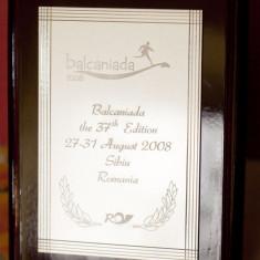 Placheta - Balcaniada a 37 a editie - Sibiu - Romania - Jubiliare