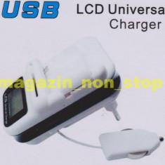 Incarcator telefon, De priza si masina - Incarcator Universal GSM Pentru Priza si Masina Cu Display LCD