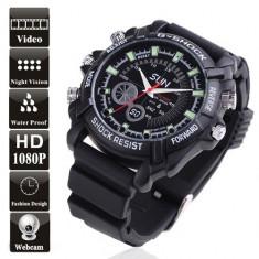 Ceas cu Camera Ascunsa Full HD 1080p, Functii Multiple, IR, 8-16GB, Waterproof - Camera spion, Mai mare de 8 GB