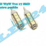 LED-URI AUTO BEC LED - W5W T10 17 SMD POZITIE, NUMAR, ALB XENON - Led auto Houde, Universal