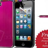 HUSA, TOC ALUMINIU iPHONE 5 +FOLIE DE PROTECTIE ECRAN+STILUS - Husa Telefon Apple