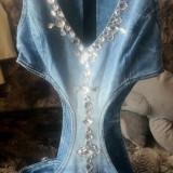 Blugi dama, Bleu, Salopeta, Marime: 32, Lungi, Normal - Salopeta Blug MEXTON