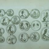 Colectii - Gravura circa 1820 monede Ungaria Imparateasa Maria Tereza