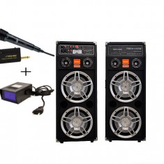 BOXE ACTIVE/AMPLIFICATE PROFESIONALE CU MIXER INCLUS, CITITOR STICK USB/CARD, EFECTE VOCE, 500 WATT+MICROFON WIRELESS+stroboscop disco.