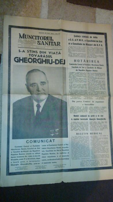 ziarul muncitorul sanitar  20 martie 1965 ( moartea lui gheorghiu dej ) foto mare
