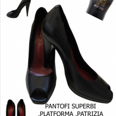 PANTOFI PIELE, PLATFORMA, MADE IN ITALIA-PATRIZIA RIGOTTI, LIVRAREA Gratuita - Pantof dama, Marime: 38, Culoare: Negru
