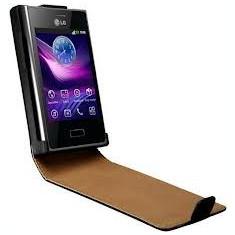 Husa Telefon - Husa piele neagra flip LG Optimus L3 E400 + folie protectie ecran