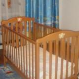 Vand patut lemn + saltea NOU - Patut lemn pentru bebelusi, 1-3 ani, 120x60cm, Crem