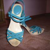 Sandale dama Zara, Marime: 38, Turcoaz - Sandale ZARA Piele intoarsa!! Superbe!
