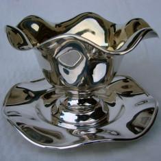 Superba sosiera suedeza din alpacca argintata, Ornamentale