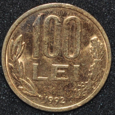 ROMANIA 100 LEI 1992 PLACATA CU AUR (IN REALITATE ARATA MULT MAI BINE) - Moneda Romania