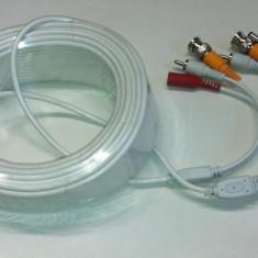 Cablu conectare pentru camere supraveghere 10 metri cu mufe Video Audio si alimentare
