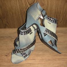 LICHIDARE STOC ! Sandale Firetrap Sz 39 jeans accesorizat tinte ! NOI! - Sandale dama Firetrap, Culoare: Albastru, Textil