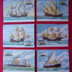 Timbre FDC ilustrata maxima carte maxima maxime nave corabii - Sao Tome&Principe 1979 (set 6 ilustrate)