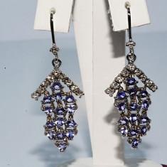Superbi cercei aur alb 14K tanzanite si diamante naturale 3.75CT 7.07gr f ieftini