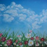 """Tablou """"Flori de primavara"""" pictura in ulei pe panza, 30x25 cm - Pictor roman, Peisaje, Altul"""