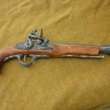 Pistol cu cremene (tromblon) 1, mecanism armare functional -Replica metal si lemn