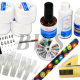 Kit FRENCH unghii  false - tipsuri,gel uv,pensula,top coat , strasuri coloarate,sabloane constructie-Set special manichiura
