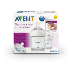 Set 2 biberoane Philips Avent Natural 125 ml bebelusi nou nascuti, 0-6 luni, Fara BPA