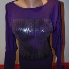Bluza dama, M, Maneca lunga, Club, Mov - Bluza lunga pt.colanti cu paiete