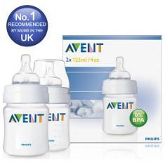 Set 2 biberoane Philips Avent Airflex 125 ml + tetine pentru nou-nascuti, 0-6 luni, Fara BPA