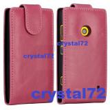 Livrare gratuita! Husa toc flip roz pentru Nokia Lumia 520, inchidere magnetica + laveta microfibra + stylus pen