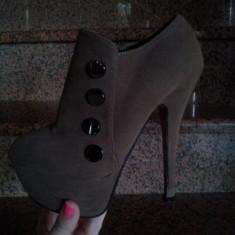 Pantofi cu platforma - Pantof dama, Marime: 35, Culoare: Maro, Maro