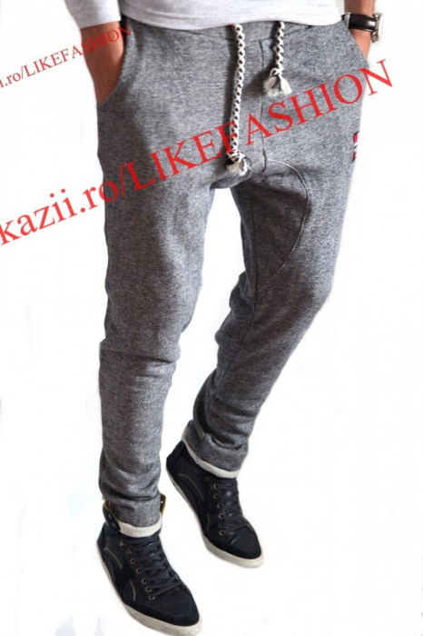 Pantaloni trening cu turu lasat tip ZARA MEN 3  - pantaloni Slim Fit - pantaloni cu turu -  Modele Fashion - Editie limitata-LICHIDARE DE STOC foto mare