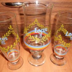 Set 3 Pahare sticla, pictate, vechi Romanesti perioada comunista. (Pionier)