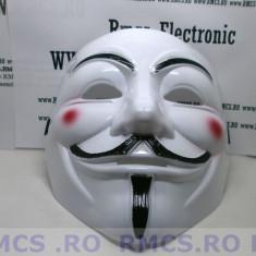 Masca V for Vendetta, Guy Fawkes Anonymous noi Alb plastic de calitate! PROMOTIE - Masca carnaval, Marime: Marime universala