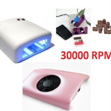 set kit manichiura lampa uv aspirator pila electrica unghii false