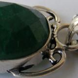Pandantiv argint - Lant cu medalion vechi din argint cu piatra verde