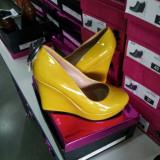 Pantofi lac mustar cu talpa ortopedica - Pantof dama, Marime: 39